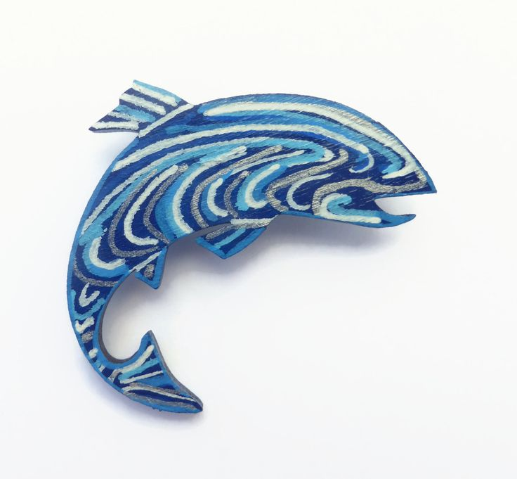 Fish Pin, Jumping Fish Brooch, Hand Painted Brooch, Fish Jewelry, Unique Jewelry, Wood Brooch, Nautical Jewelry, Wood Fish Brooch by Larryware on Etsy
