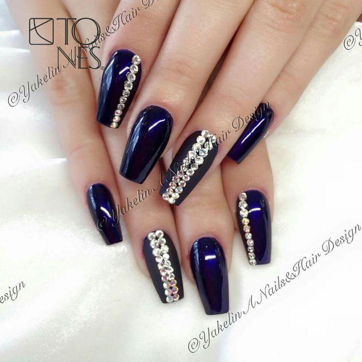 Azul Marino Plata Uñas Pinterest Nails Nail Art Y Nail Designs