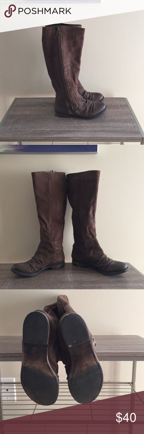 Tall side zip boots Tall dark brown leather boots with side zippers. Good condition. No box. Steve Madden Shoes Combat & Moto Boots
