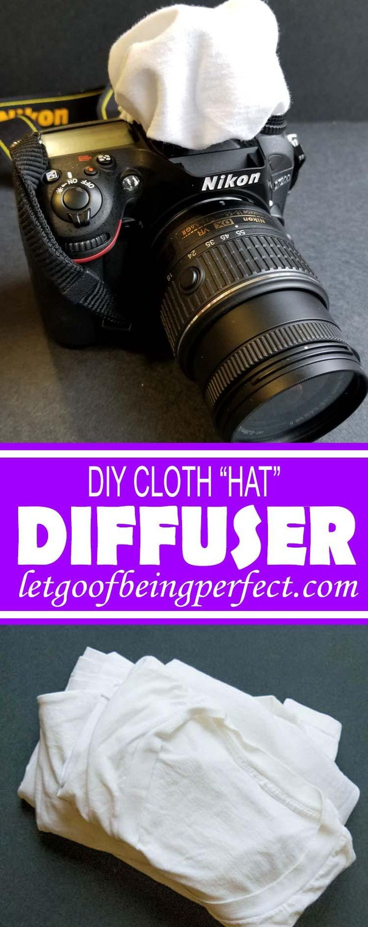 DIY Cloth Hat Diffuser - This simple photography tutorial will teach you how to make a simple cloth diffuser to put over your dSLR flash. Learn tips for your blog photography. Photoshop, Lightroom, and Elements ideas to modify and fix up your pictures and images. Explore the web site for more step-by-step tutorials, especially upcycling and refashioning how-tos. Also check out my blogging & photograph tips! http://letgoofbeingperfect.com