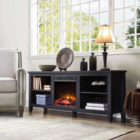 "Mainstays Media Fireplace for Flat Panel TVs up to 70"", Charcoal Black Image 3 of 6"