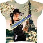 Bayan resimli şehir manzaralı bayan giyim baskıları