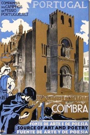Cartaz publicitário sobre Coimbra, em Portugal.