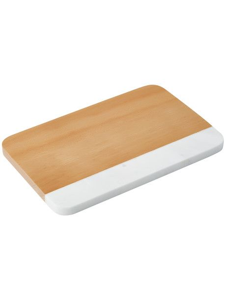 Prepare and serve food in style with this beech wood and white marble rectangle board from the Cinemon Nordic range.
