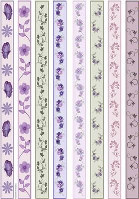Ribbon Borders on Craftsuprint designed by Susan Donaghie - 8 pretty borders with butterflies, flowers, stems