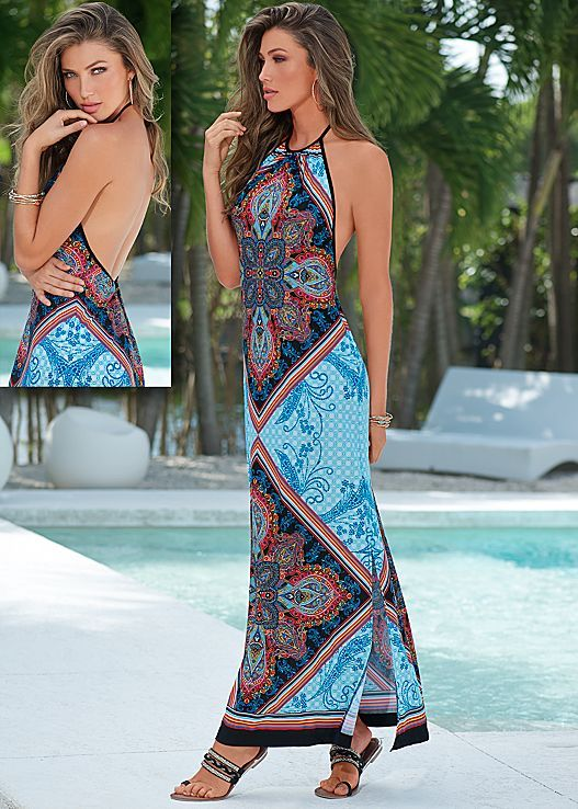 Open back silhouette with a kaleidoscope print gives you a balance between sultry and stunning.Venus printed halter maxi dress.
