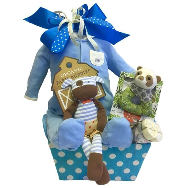 Adorable Gift Basket for the newborn baby boy. #babyboygiftbaskets #babygiftbaskets #giftbaskettoronto www.mybaskets.ca