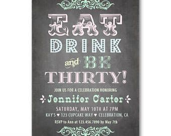 Pastel 30th Birthday Invitation Chalkboard For Her Eat Drink And Be 30 Party Invitations Female