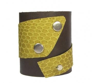 Sarı Detaylı Hakiki Deri Bileklik / Leather Cuff