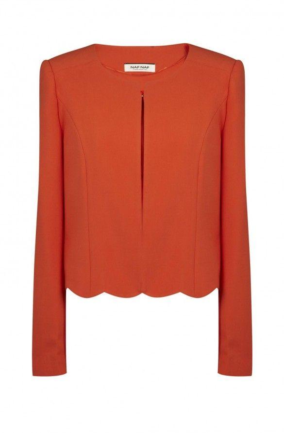 Naf naf veste de tailleur courte à ourlet festonné orange 1