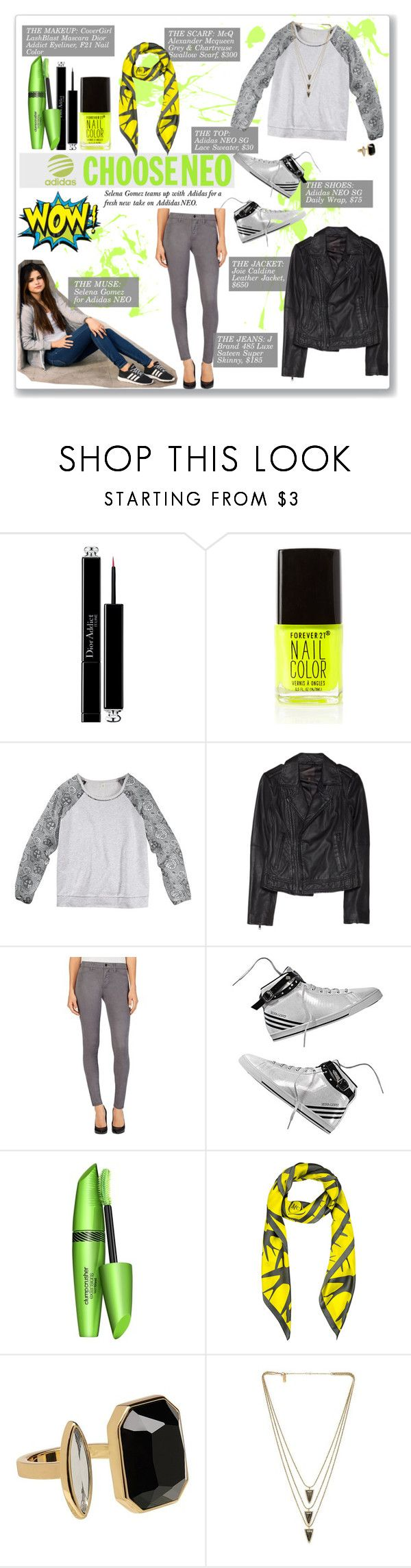 """""""Live Your Style with adidas NEO Label: Contest Entry"""" by coeurdcoeurs7 ❤ liked on Polyvore featuring Christian Dior, adidas NEO, Forever 21, Joie, J Brand, COVERGIRL, McQ by Alexander McQueen and Melanie Auld"""