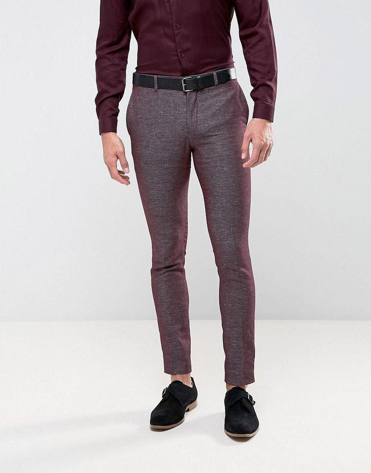 Jack & Jones Premium Skinny Suit Pant in Texture - Red
