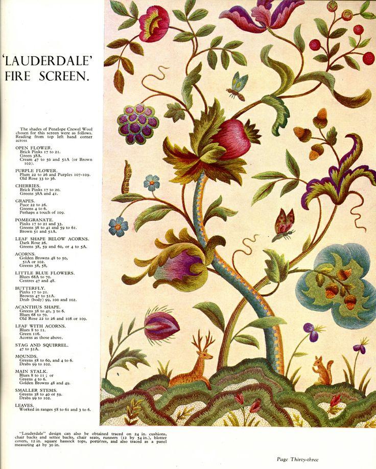 vintage Penelope catalogue - Needleprint: Edenrock Shower, Crewelwork, Trees Of Life, Jacobean Crewel, Crewel Work, Crewel Embroidery, Shower Curtains, Jacobean Embroidery, Tree Of Life