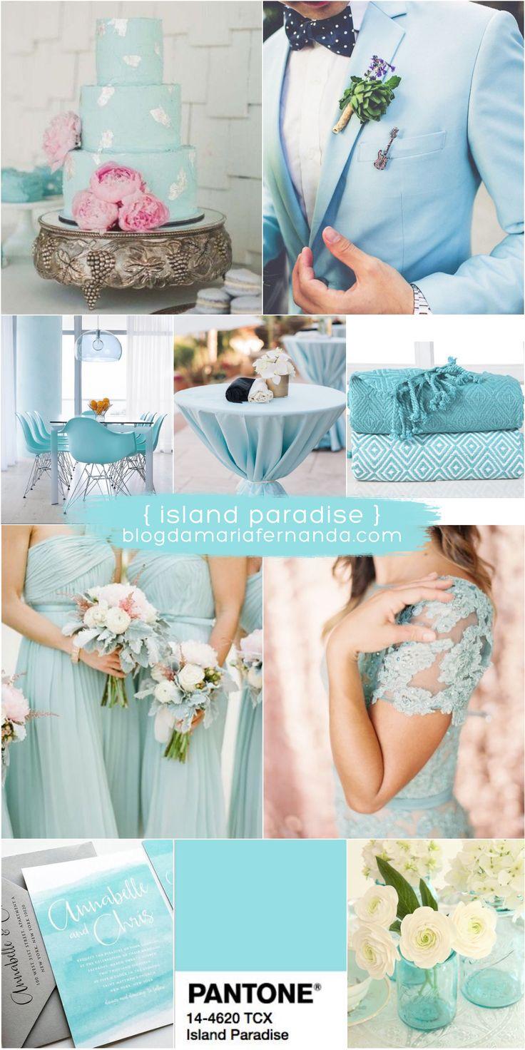 Paleta de cores com a decoração de casamento do momento: Island Paradise! Visite o blog para conferir as 10 cores do Pantone para 2017!