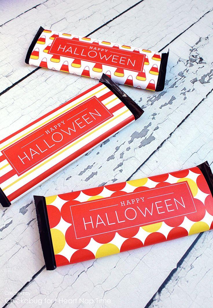 無料印刷可能なハロウィーンのキャンディーバーのラベル