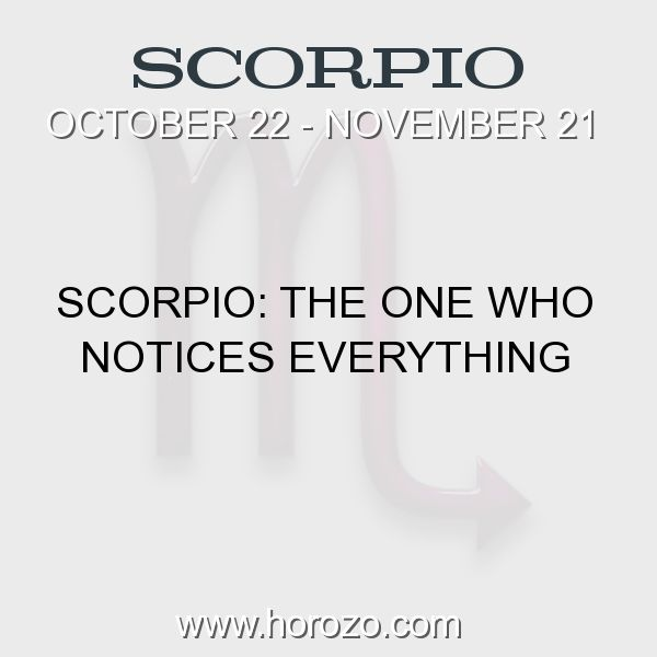 Fact about Scorpio: Scorpio: The One Who Notices Everything #scorpio, #scorpiofact, #zodiac. More info here: www.horozo.com