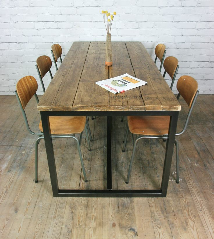 VINTAGE INDUSTRIAL STEEL RUSTIC FACTORY LOFT FARM DINING TABLE