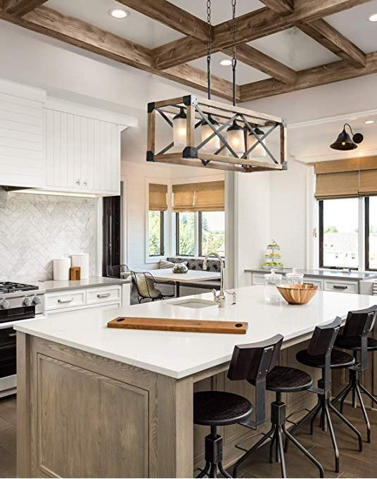 Laluz Farmhouse Wood Linear Island Chandeliers 4 Light Kitchen Table Rustic Lighting Fixture