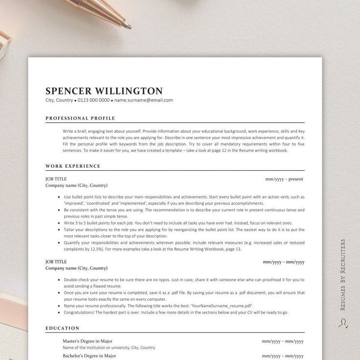 Executive ATS Resume Template Onepage and Twopage Resume