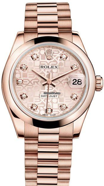 Rolex Datejust 31mm $28,170 #Rolex #watch #watches #chronographes 18K Everose Gold President Bracelet