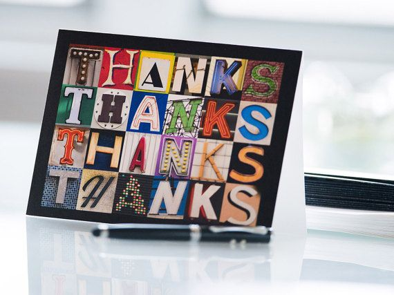 Personalised Thank You Note Cards in photos of sign letters