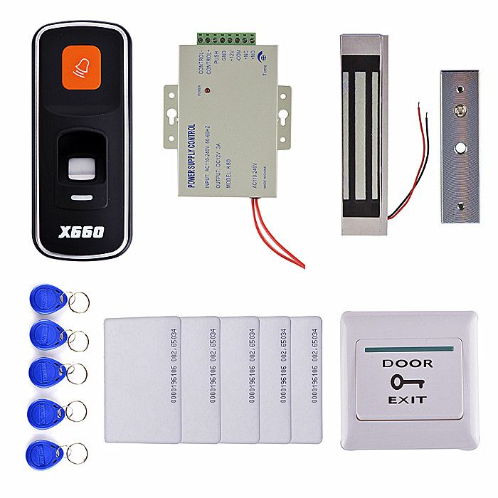 3000 Users Fingerprint 125khz Rfid Id Card Reader Door Access Control System Kit 300 Lbs Magnetic Lock 10 Key Card Access Control Power Electronic Products