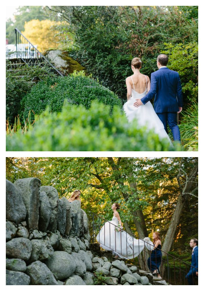 The bride & co. take in the stunning natural beauty of the gardens surrounding Moraine Farms on a pristine August afternoon. (catering c/o Fireside Catering; photo c/o Studio Nouveau) #gardenwedding #newenglandwedding #weddingvenue #newengland #beverlyma