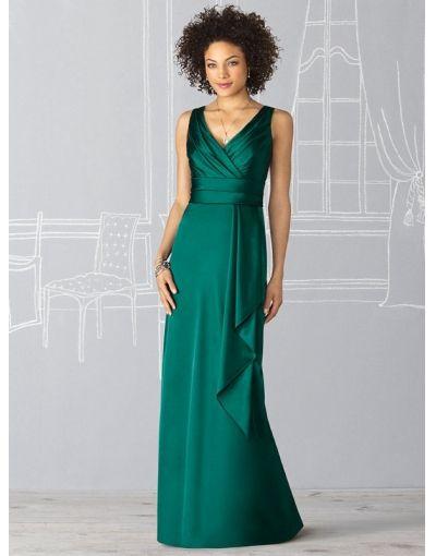 Bruidsmeisjes- nieuwe stijl satijn diepe v-hals ruches ruches rijk groene bruidsmeisje jurk