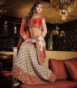 Red and White Kundan Bridal