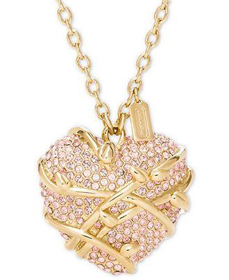 COACH PAVE HEART VINE NECKLACE - Coach Jewelry - Handbags & Accessories - Macy's