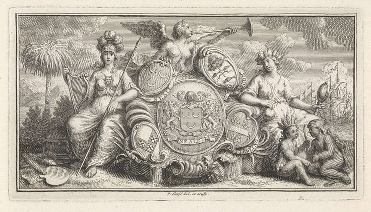 Pieter Tanjé | Wapenschild van Stephanus Laurentius Neale, Pieter Tanjé, 1716 - 1761 | De wapenschilden van Stephanus Laurentius Neale, koffieplanter te Suriname, geflankeerd door Minerva, als godin van de kunst, en de Handel, die de spiegel van voorzichtigheid en een zak met geld in de handen houdt. Rechts een schip. Neale introduceerde de koffieboon in Suriname en werd rijk met het verhandelen van koffie.