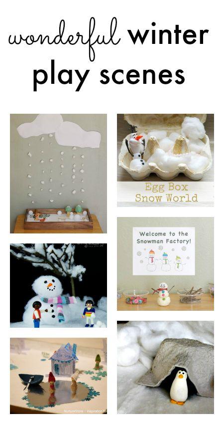 winter imaginary play. winter small worlds, winter pretend play, snow small world, winter sensory play