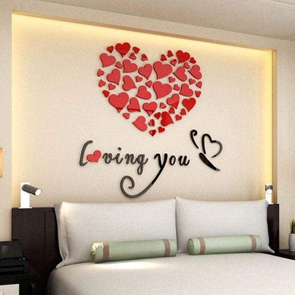 16x DIY Removable Heart Shaped Mirror Stickers Wall Decal Home Hanging Decor