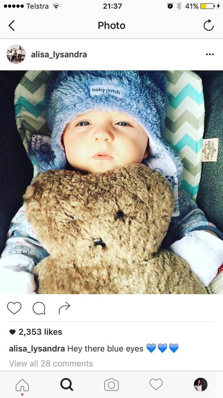 Celebrity baby Dash using Bambella Design's pram liner in aqua chevron