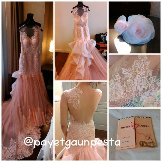 Wedding gown for reception party with low backless and smooth pretty lace in pink peach colour.. :)