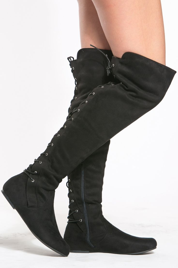 8dea0d5a378 Black Faux Suede Thigh High Boots   Cicihot Boots Catalog women s winter  boots