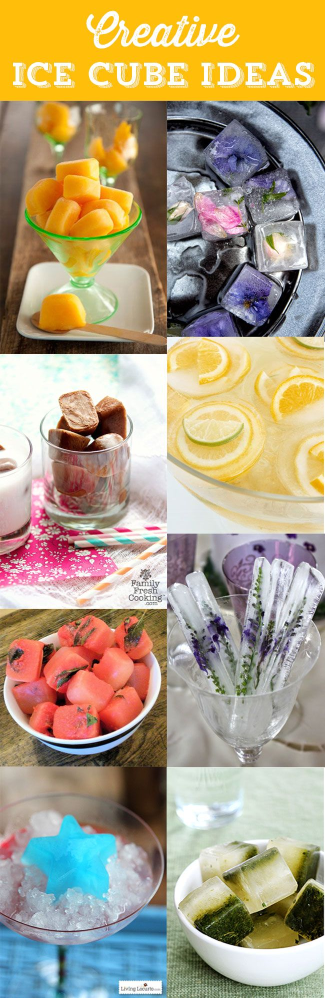 Creative Ice Cube Recipes! Simple and easy ways to serve your favorite drinks or party punch.