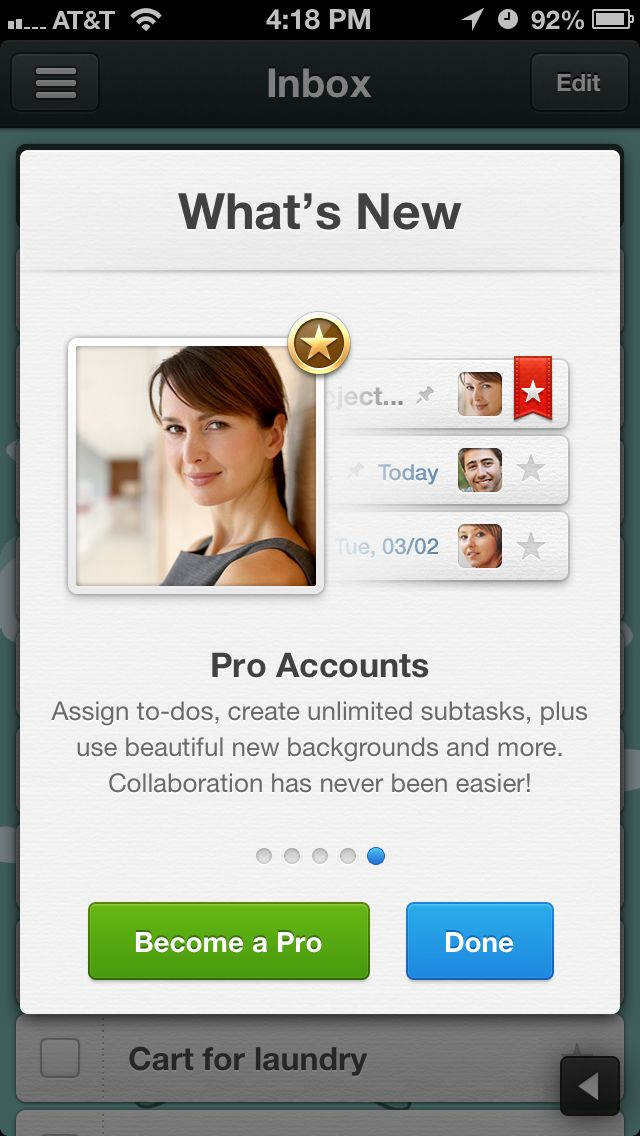 Modal for feature updates and upsells (Wunderlist)