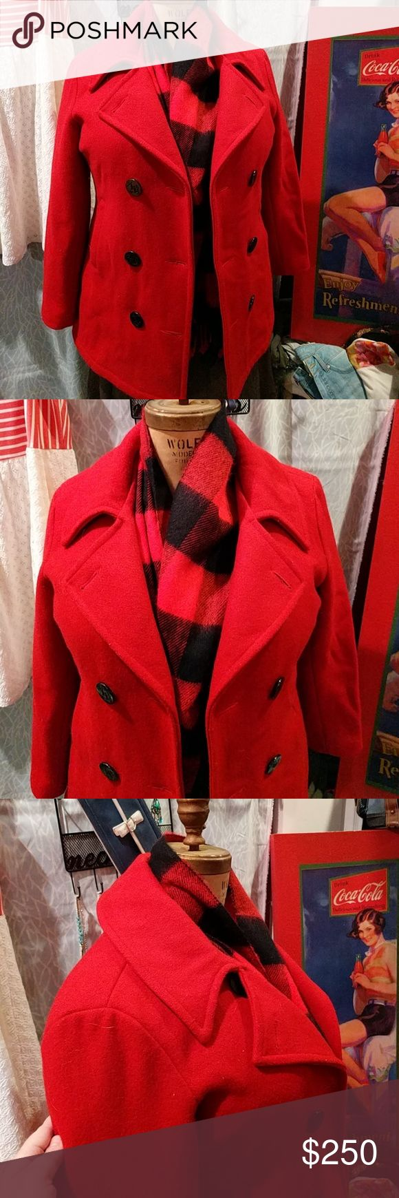 🔥RARE Vintage US Navy Red Pea Coat made in USA Authentic US Navy Red Pea Coat made in USA US Navy Jackets & Coats Pea Coats