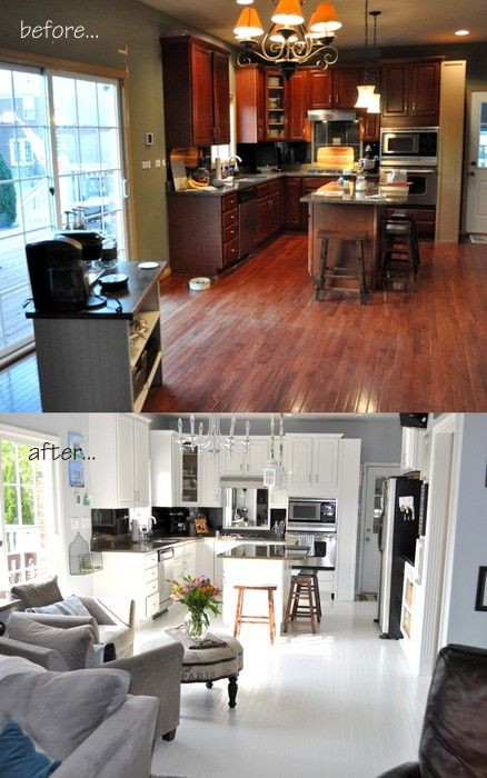 DIY:  How To Paint Prefinished Hardwood Floors + she has a link to her other post that takes you through how she prepped the floors.