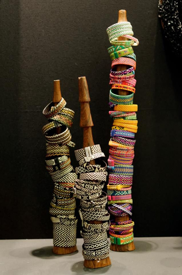 Bracelets woven in a number of West African countries using thin strips of recycled plastic mats. [Image: As'Art, Paris, France]