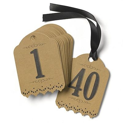 Want a unique way to number your tables? Tag them! Kraft paper table number tags have a vintage shape and are printed in black with numbers 1-40. Black ribbon is included for tying to wine bottles, vases and more.