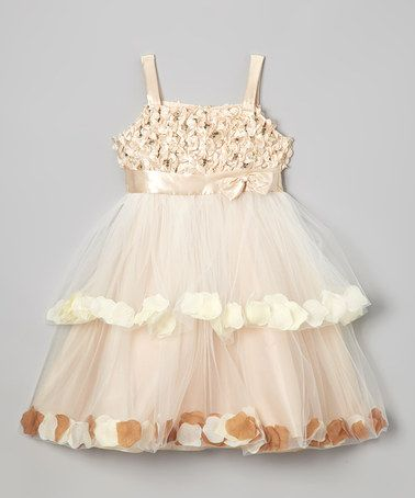Take a look at this Champagne Petal Tiered Dress - Girls by Shanil on #zulily today!