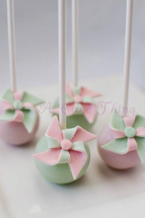 pinwheel cakes | Photo: Pinwheel cake pops to match the pink and yellow macarons for ...
