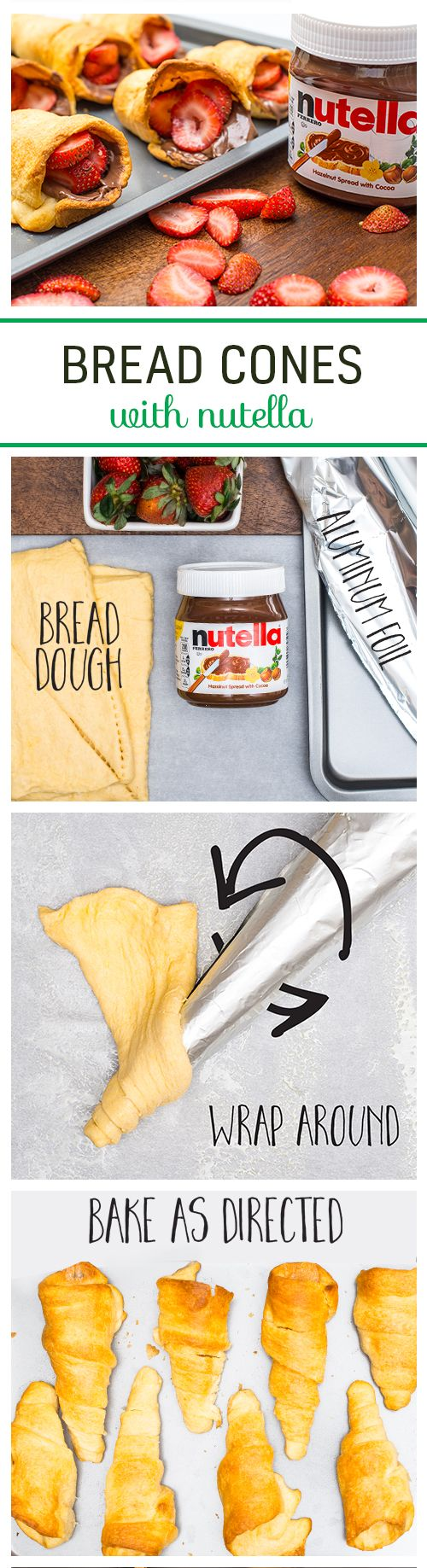 For a pick-me-up you won't want to put down, try these fun bread cones. First, make aluminum foil cones and wrap your pre-made dough around them. Bake as directed. When the cones are cool, remove the foil cones and fill the center of the bread with Nutella® and strawberries, grab and go!