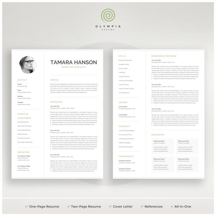 Modern Cv Template With Photo 1 2 Page Resume Professional Photo Resume For Word Mac Pages Marketing Cv Instant Download Tamara Resume Template Professional Resume Templates Resume Template