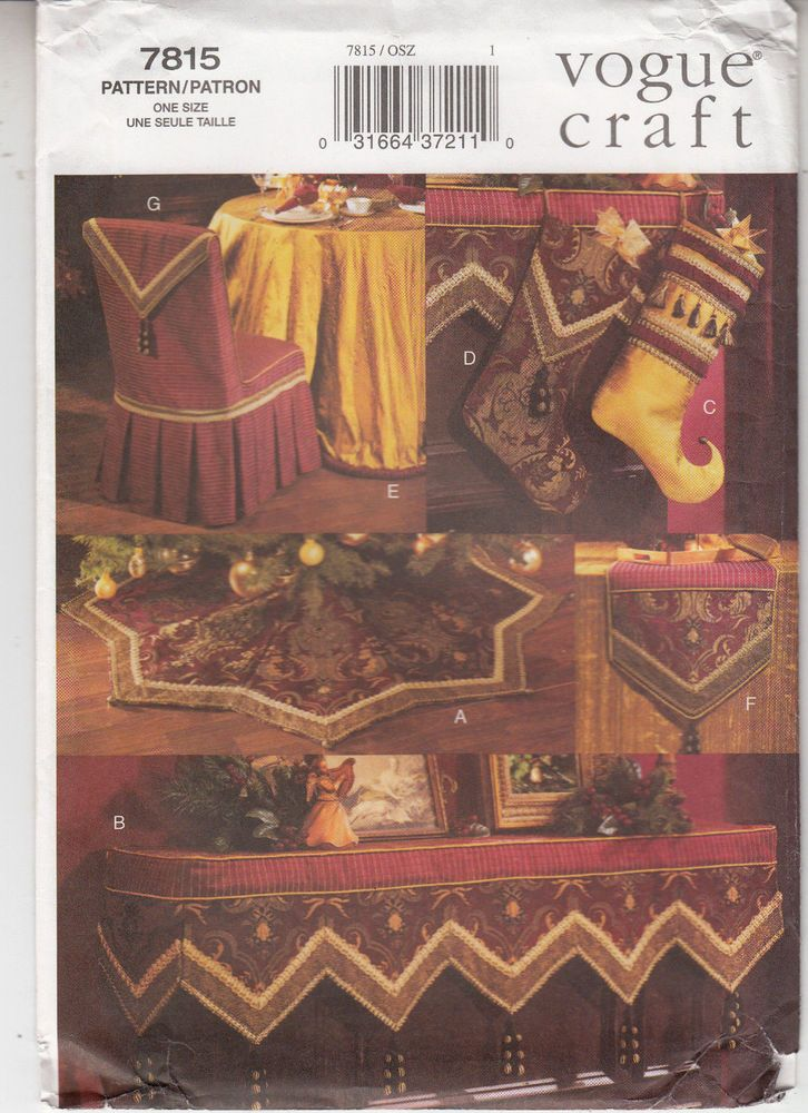 Vogue 7815 Christmas Decor Luxe Tree Skirt Stockings Mantle Cloth Sewing Pattern #VoguePatterns #Treeskirtmantleclothstockings