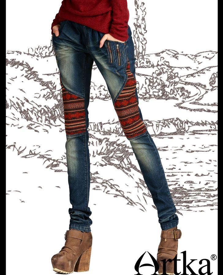 Одежда : Обтягивающие джинсы с узорными вставками по бокам и потертостями