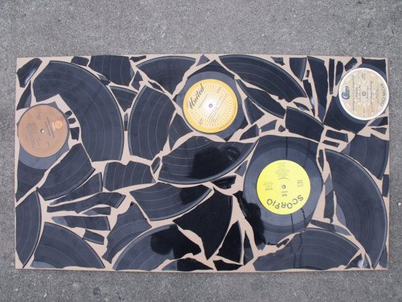 Vinyl Record Wall Art Hanging via Etsy