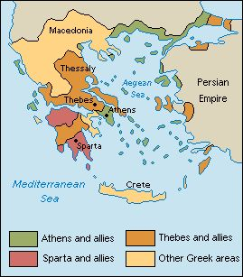 Fighting among the Greek city-states continued,Peloponnesian War (431-404 B.C.). The three biggest city-states were Athens, Sparta, and Thebes. Athens and its allies extended along the Aegean coast and to some Aegean islands. Sparta and its allies lay in the northern and southern areas of the Peloponnesus peninsula. Lands allied with Thebes covered most of present-day Greece, part of the Peloponnesus peninsula, and some coastal areas of Asia Minor.